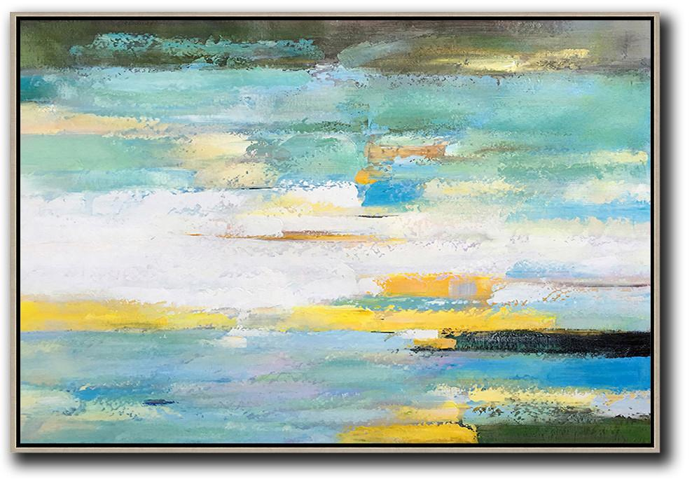 Handmade Large Contemporary Art,Oversized Horizontal Abstract Landscape Art,Acrylic Painting Large Wall Art,White,Yellow,Light Green.etc