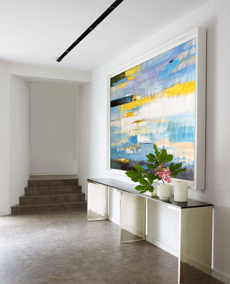 Large Abstract Art Handmade Oil Painting,Horizontal Abstract Landscape Art,Living Room Canvas Art,White,Yellow,Blue,Purple,Black.etc