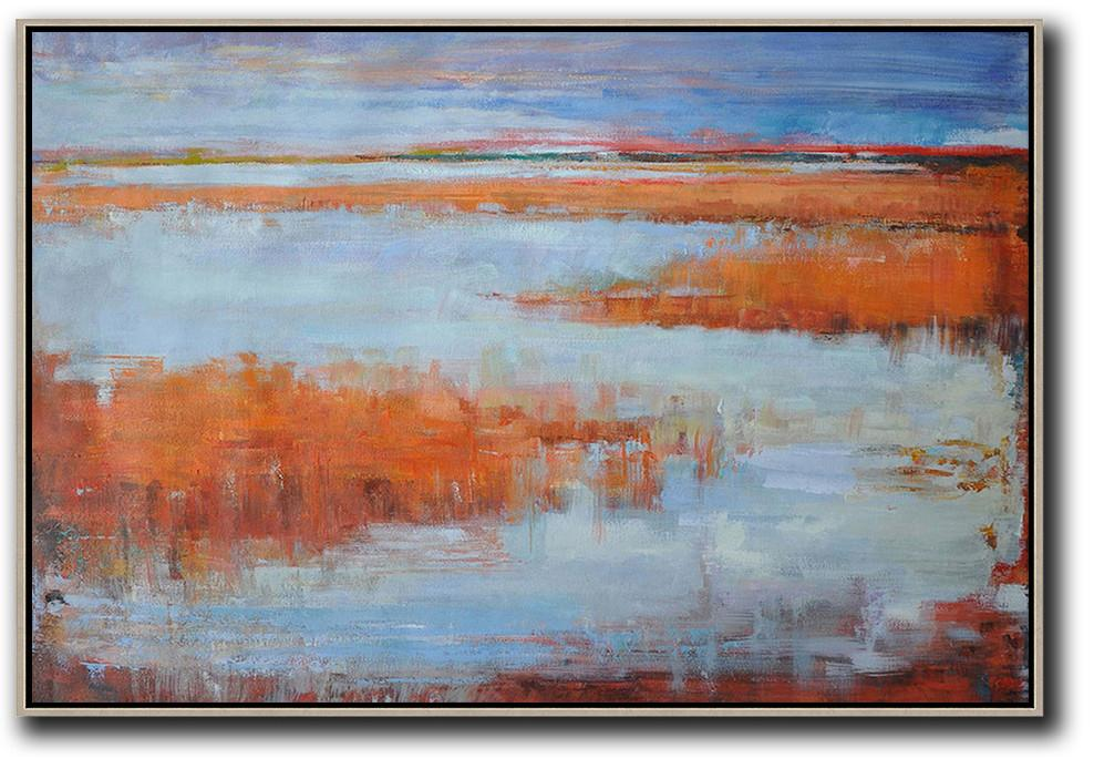 Original Abstract Painting Extra Large Canvas Art,Horizontal Abstract Landscape Oil Painting On Canvas,Hand-Painted Canvas Art,Blue,Orange,Grey,Red.etc