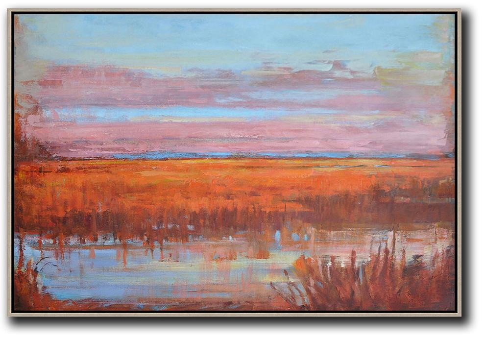 Handmade Extra Large Contemporary Painting,Horizontal Abstract Landscape Oil Painting On Canvas,Original Abstract Painting Canvas Art,Sky Blue,Pink,Orange,Red.etc