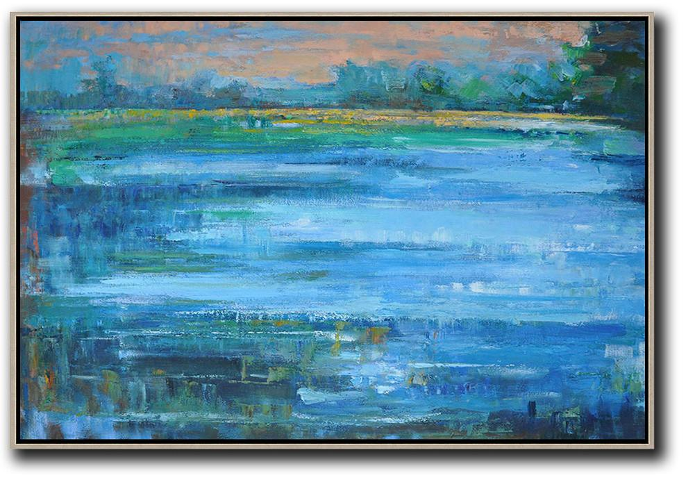 Extra Large Textured Painting On Canvas,Horizontal Abstract Landscape Oil Painting On Canvas,Large Abstract Art Handmade Acrylic Painting,Nude,Light Blue,Green,Yellow.etc