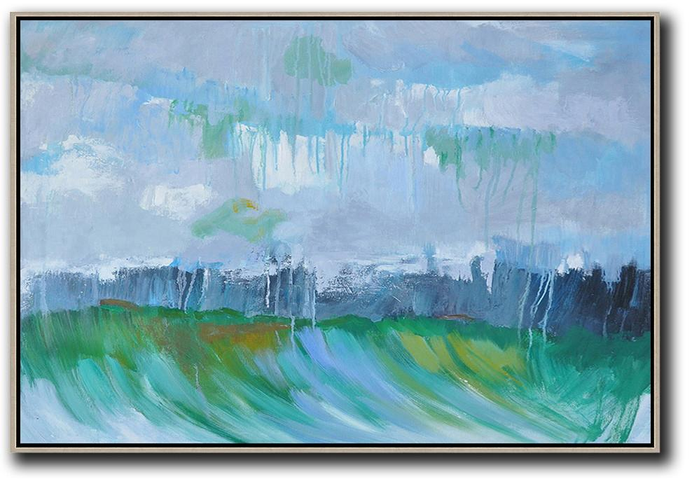 Large Abstract Painting,Horizontal Abstract Landscape Oil Painting On Canvas,Extra Large Wall Art,Grey,Dark Blue,Green.etc