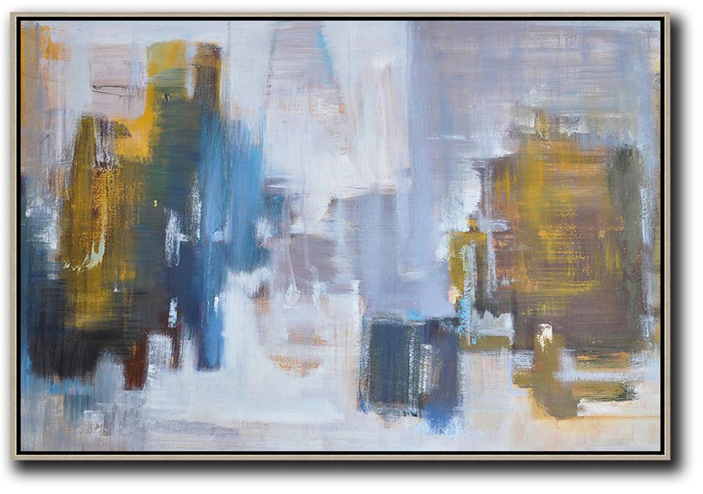 Large Abstract Art Handmade Painting,Horizontal Abstract Landscape Oil Painting On Canvas,Acrylic Painting On Canvas,White,Blue,Earthy Yellow,Grey.etc