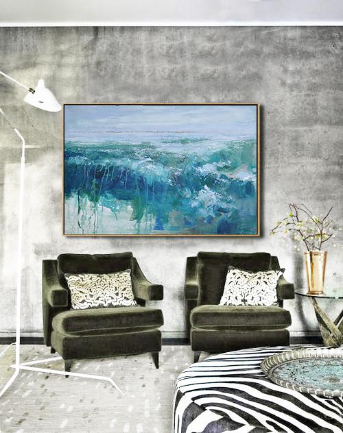 Handmade Painting Large Abstract Art,Horizontal Abstract Landscape Oil Painting On Canvas,Huge Abstract Canvas Art,Blue,Grey,Green.etc