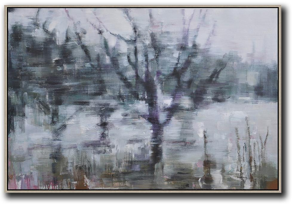 Extra Large Acrylic Painting On Canvas,Horizontal Abstract Landscape Oil Painting On Canvas,Large Oil Canvas Art,Grey,Purple,Dark Green.etc