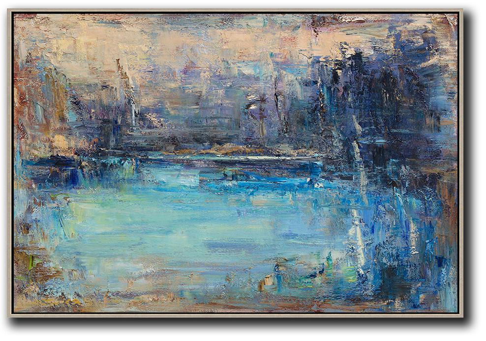 012d1f615 Original Extra Large Wall Art,Horizontal Abstract Landscape Oil Painting On  Canvas,Canvas Paintings For Sale,Yellow,Dark Blue,Brown.etc