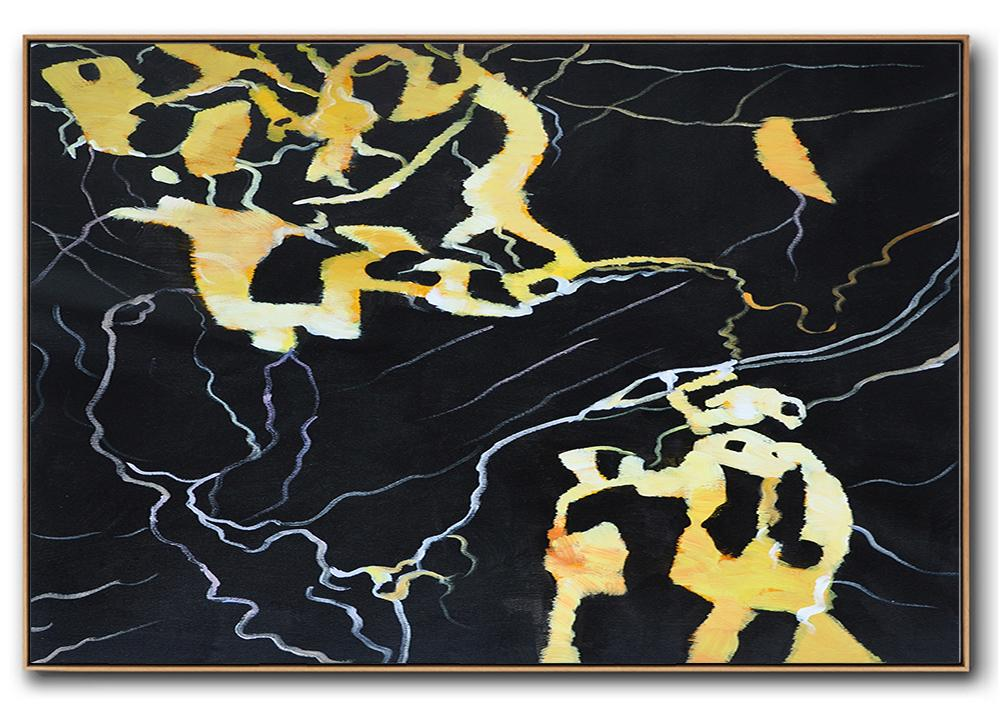 Handmade Painting Large Abstract Art,Hand Painted Oversized Horizontal Abstract Marble Art On Canvas,Textured Painting Canvas Art,Earthy Yellow ,Black,White.etc