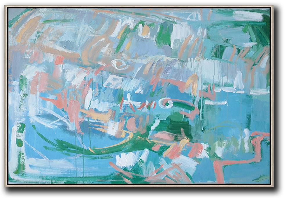 Extra Large Acrylic Painting On Canvas,Hand Painted Horizontal Abstract Oil Painting On Canvas,Huge Abstract Canvas Art,Blue,Green,Pink.etc