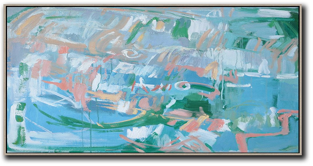 Large Abstract Art,Panoramic Abstract Oil Painting On Canvas,Giant Canvas Wall Art,Blue,Green,Pink,White.etc