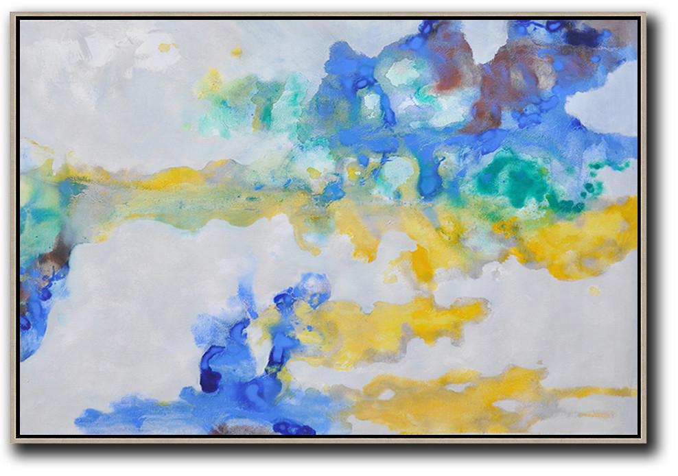 Handmade Extra Large Contemporary Painting,Hand Painted Horizontal Abstract Oil Painting On Canvas,Canvas Artwork For Sale,Grey,Yellow,Blue.etc