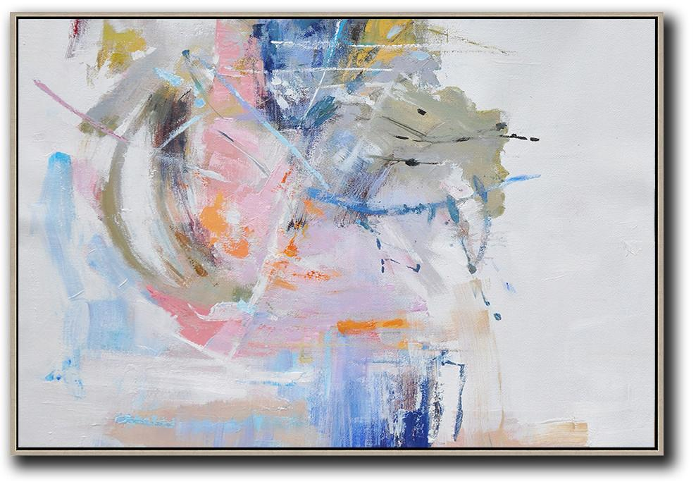 Original Abstract Painting Extra Large Canvas Art,Hand Painted Horizontal Abstract Oil Painting On Canvas,Art Work,White,Grey,Pink,Blue.etc