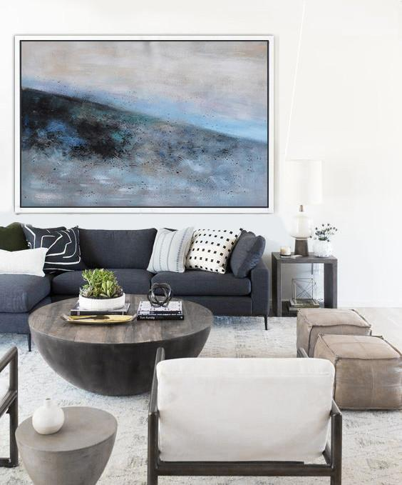 Abstract Painting Extra Large Canvas Art,Oversized Horizontal Contemporary Art,Custom Canvas Wall Art,Grey,Blue,Black.etc