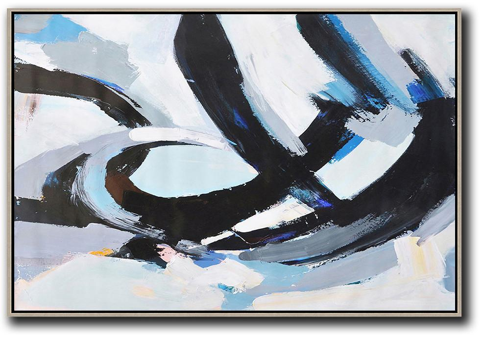 Extra Large Abstract Painting On Canvas,Horizontal Palette Knife Contemporary Art,Modern Canvas Art,Grey,White,Black,Blue.etc