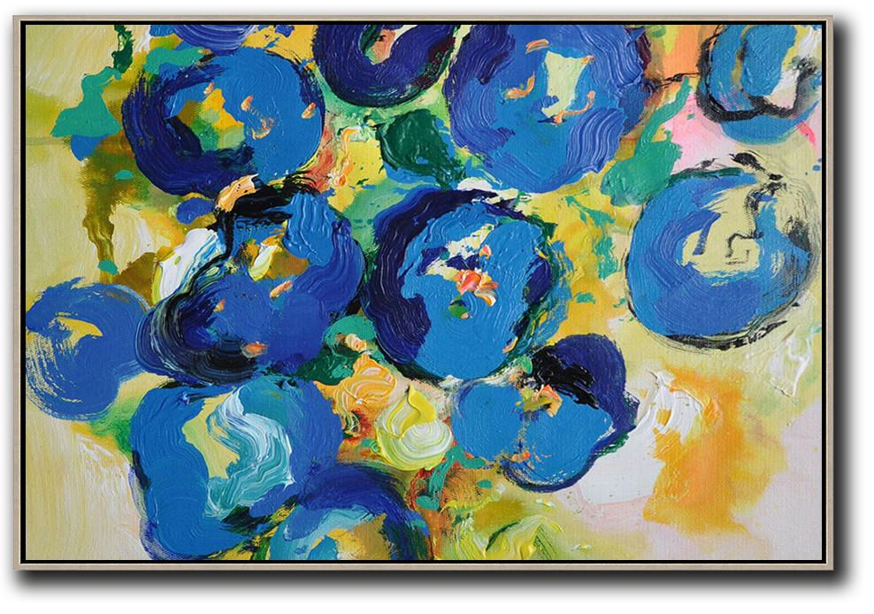 Hand Made Abstract Art,Horizontal Palette Knife Contemporary Art,Acrylic Painting On Canvas,Yellow,Blue,Green.etc