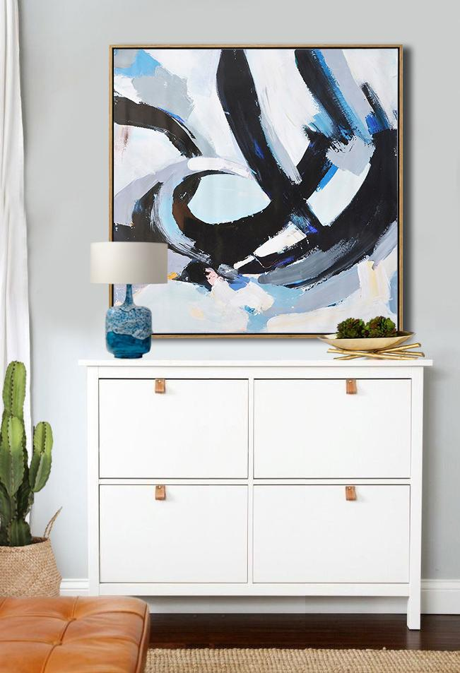 Hand Painted Extra Large Abstract Painting,Oversized Palette Knife Painting Contemporary Art On Canvas,Acrylic Painting On Canvas,White,Black,Gray.etc