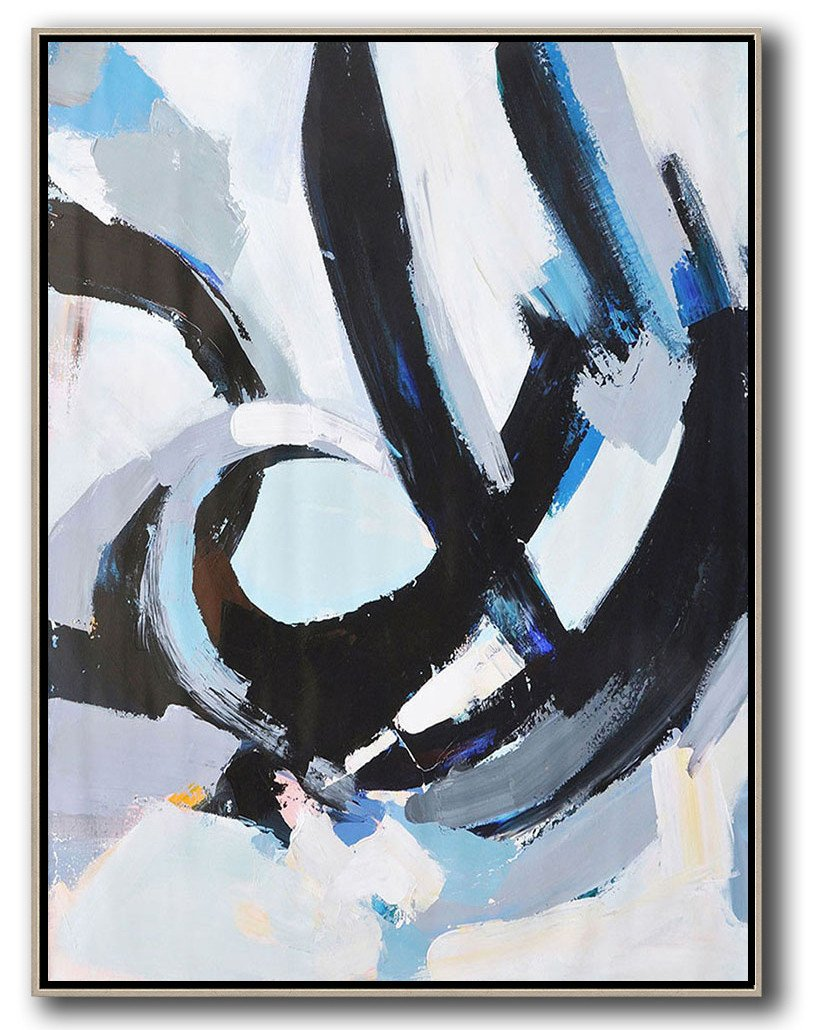 Hand Made Abstract Art,Vertical Palette Knife Contemporary Art,Original Art Acrylic Painting,White,Black,Blue.etc