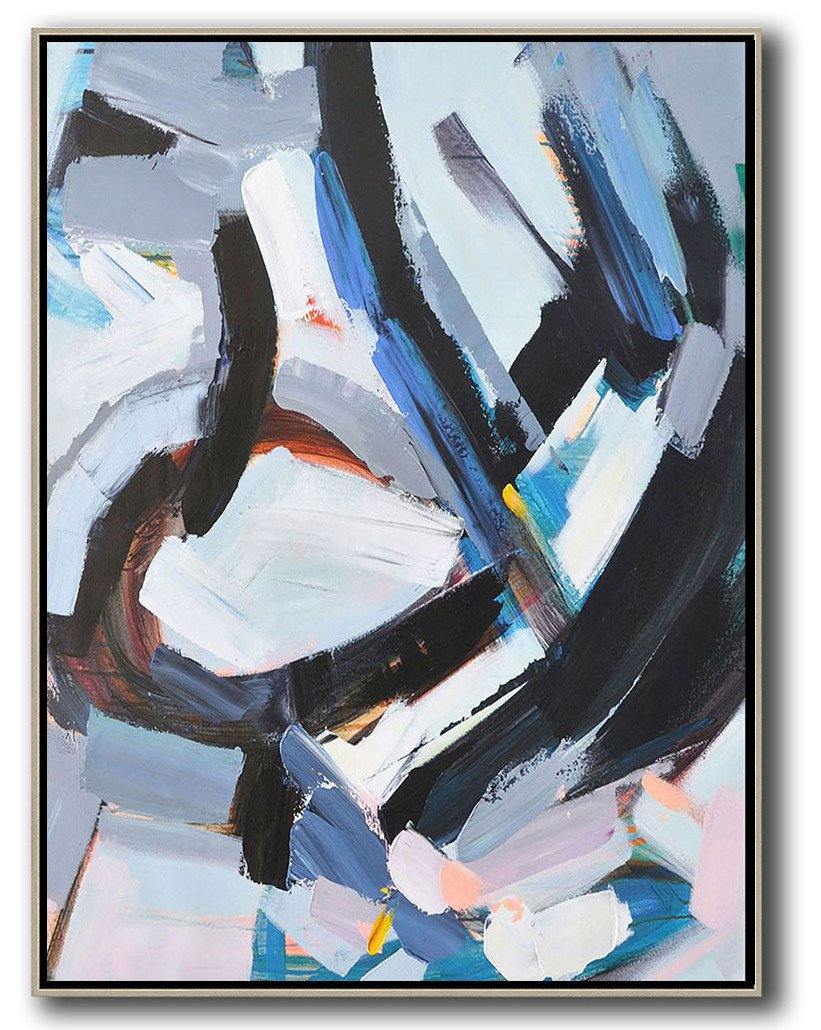 Large Abstract Art,Vertical Palette Knife Contemporary Art,Modern Paintings On Canvas,White,Grey,Black,Blue.etc