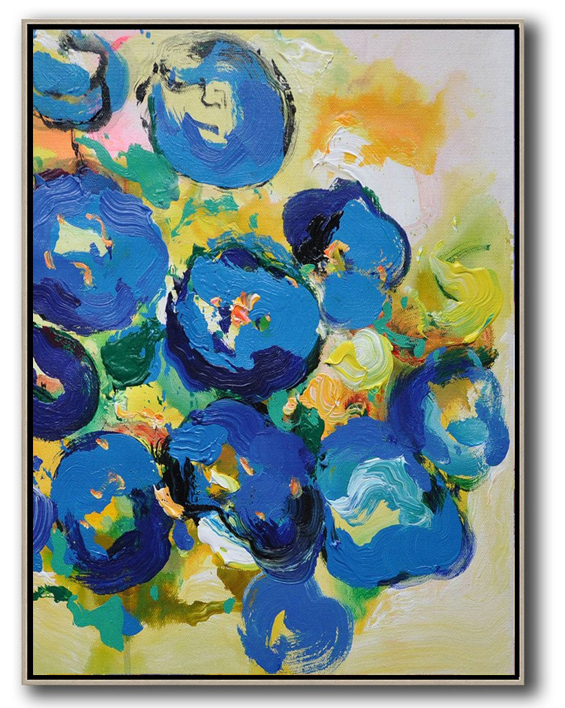 Large Contemporary Art Acrylic Painting,Vertical Palette Knife Contemporary Art,Large Oil Canvas Art,Yellow,Blue,Pink,Green.etc