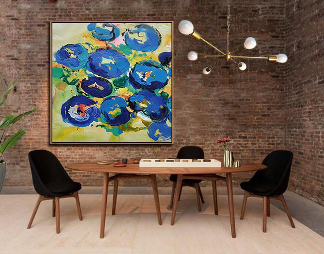 Handmade Large Contemporary Art,Oversized Palette Knife Painting Abstract Flower Painting On Canvas,Large Canvas Art,Modern Art Abstract Painting,Yellow,Blue,Green.etc