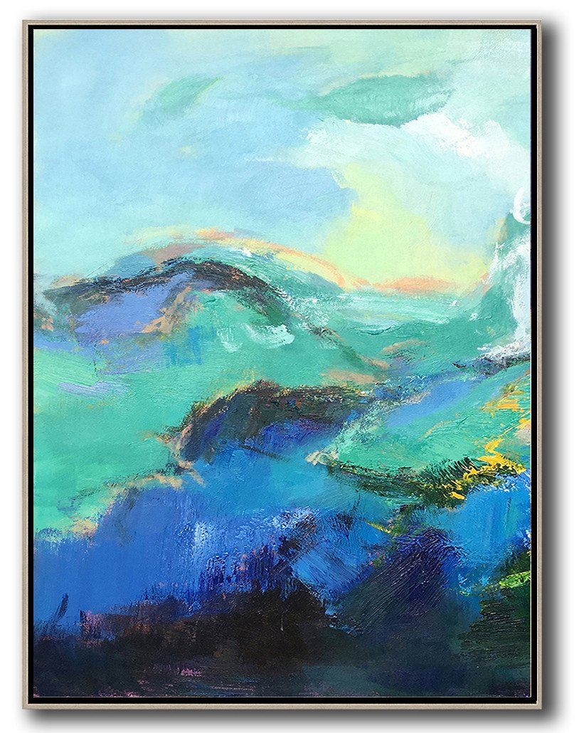 Handmade Extra Large Contemporary Painting,Vertical Palette Knife Contemporary Art,Modern Wall Art,Blue,Green,Black.etc