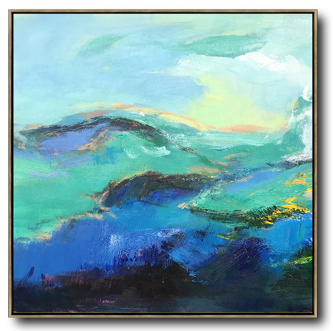 Oversized Canvas Art On Canvas,Oversized Palette Knife Painting Abstract Landscape Art On Canvas,Big Art Canvas,Blue,Green,Black.etc