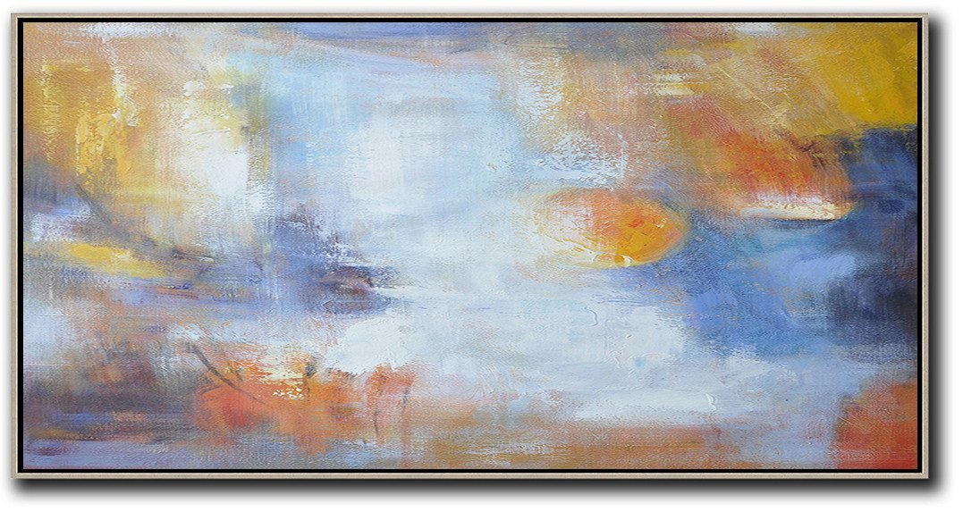 Large Abstract Painting Canvas Art,Horizontal Palette Knife Contemporary Art,Large Colorful Wall Art,Blue,White,Yellow.etc