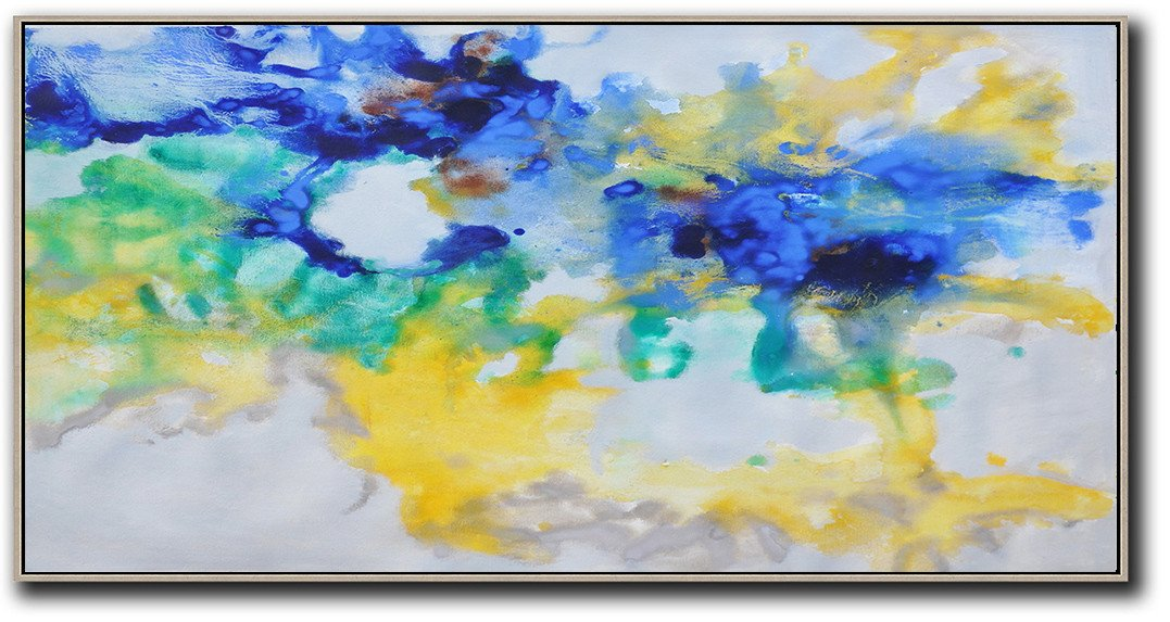 Hand Made Abstract Art,Hand Painted Panoramic Abstract Oil Painting On Canvas,Large Abstract Wall Art,Grey,Yellow,Blue,Green.etc