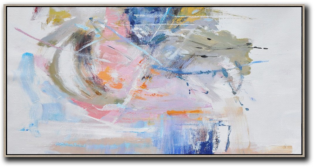 "Extra Large 72"" Acrylic Painting,Panoramic Abstract Art On Canvas,Modern Art,Grey,White,Blue,Green.etc"