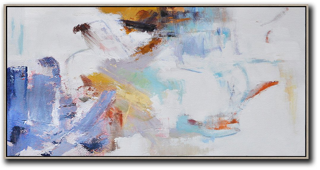 Extra Large Abstract Painting On Canvas,Horizontal Abstract Art On Canvas,Art Work,White,Blue,Grey,Earthy Yellow.etc