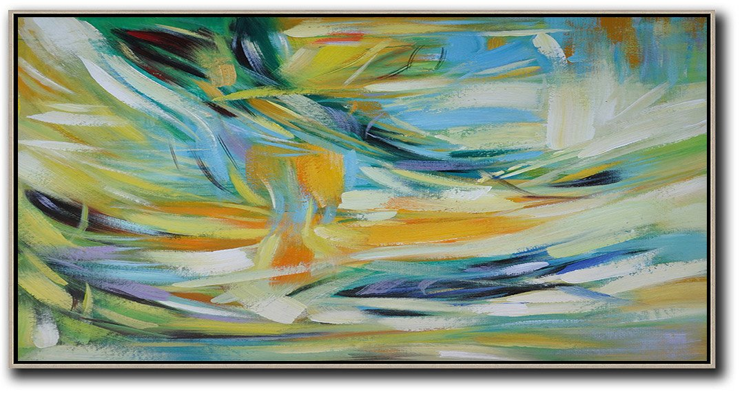 Handmade Large Contemporary Art,Horizontal Palette Knife Contemporary Art,Contemporary Art Wall Decor,Yellow,Blue,White,Green.etc