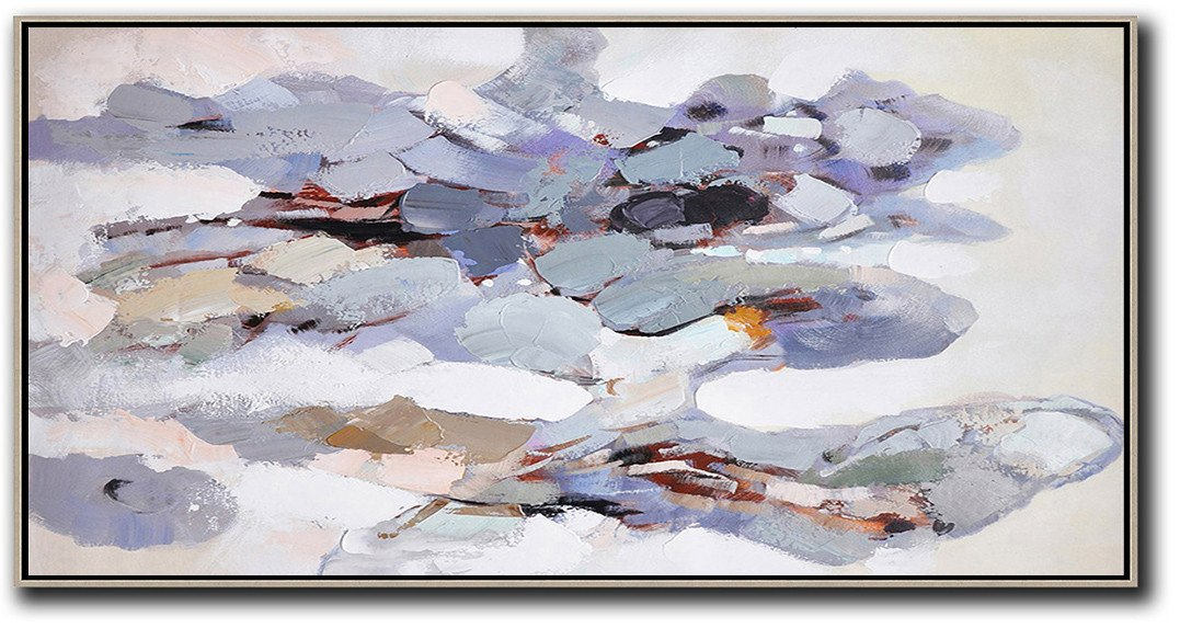 Abstract Painting Extra Large Canvas Art,Horizontal Palette Knife Contemporary Art,Modern Paintings,White,Grey,Purple.etc