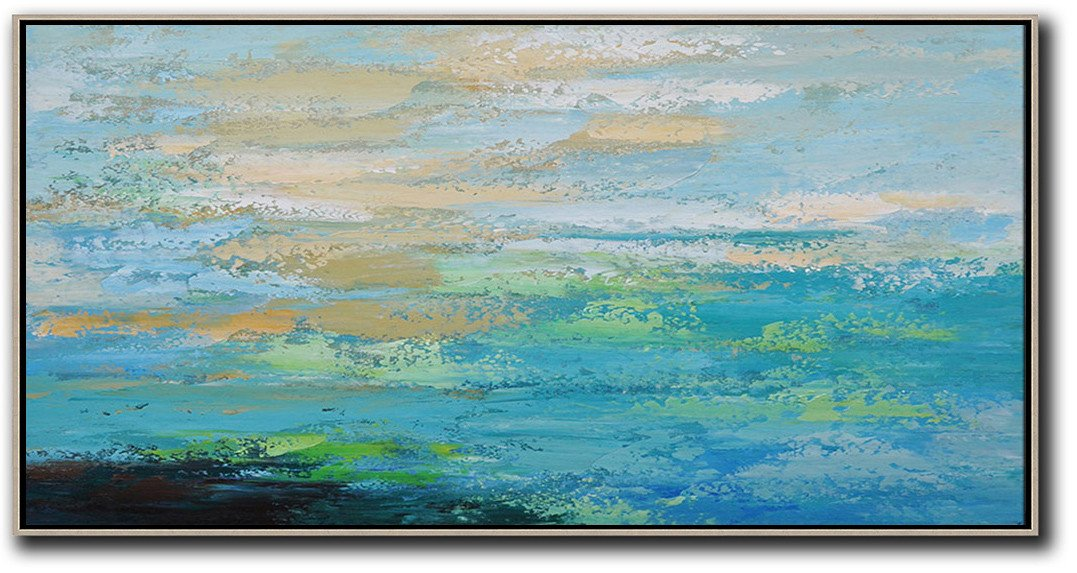 Extra Large Canvas Art,Horizontal Palette Knife Contemporary Art,Canvas Wall Art,Blue,Yellow,Black,Green.etc