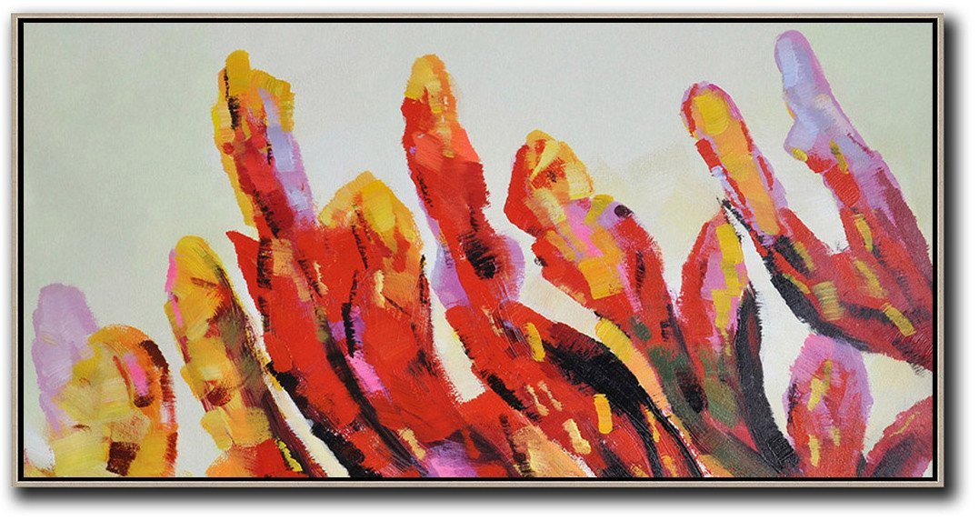 Large Abstract Art,Horizontal Palette Knife Contemporary Art,Abstract Oil Painting,Yellow,Red,Purple.etc