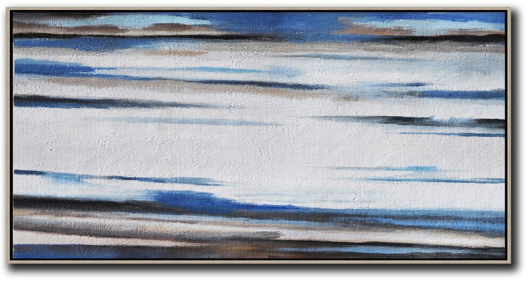 Large Abstract Art Handmade Oil Painting,Hand Painted Panoramic Abstract Painting,Big Canvas Painting,White,Blue,Brown.etc