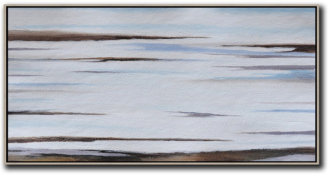 Large Abstract Art Handmade Painting,Hand Painted Panoramic Abstract Painting,Large Canvas Wall Art For Sale,Grey,White,Brown,Blue.etc