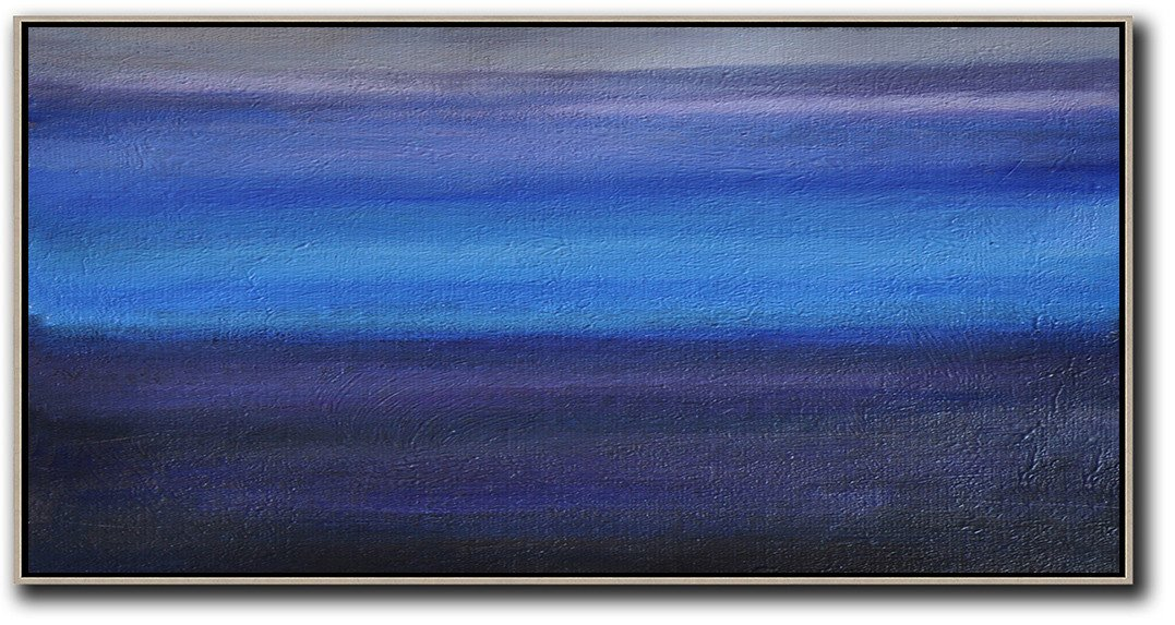 Extra Large Acrylic Painting On Canvas,Hand Painted Panoramic Abstract Painting,Large Paintings For Living Room,Grey,Blue,Black.etc