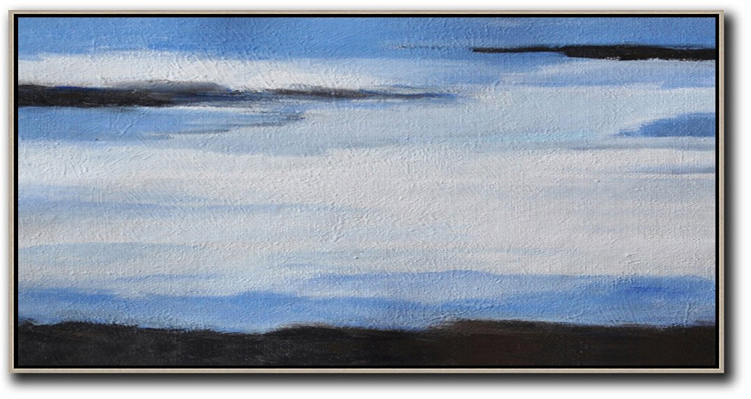 Extra Large Painting,Hand Painted Panoramic Abstract Painting,Big Art Canvas,White,Blue,Black.etc