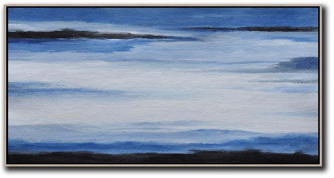Large Modern Abstract Painting,Hand Painted Panoramic Abstract Painting,Extra Large Artwork,Blue,White,Black.etc