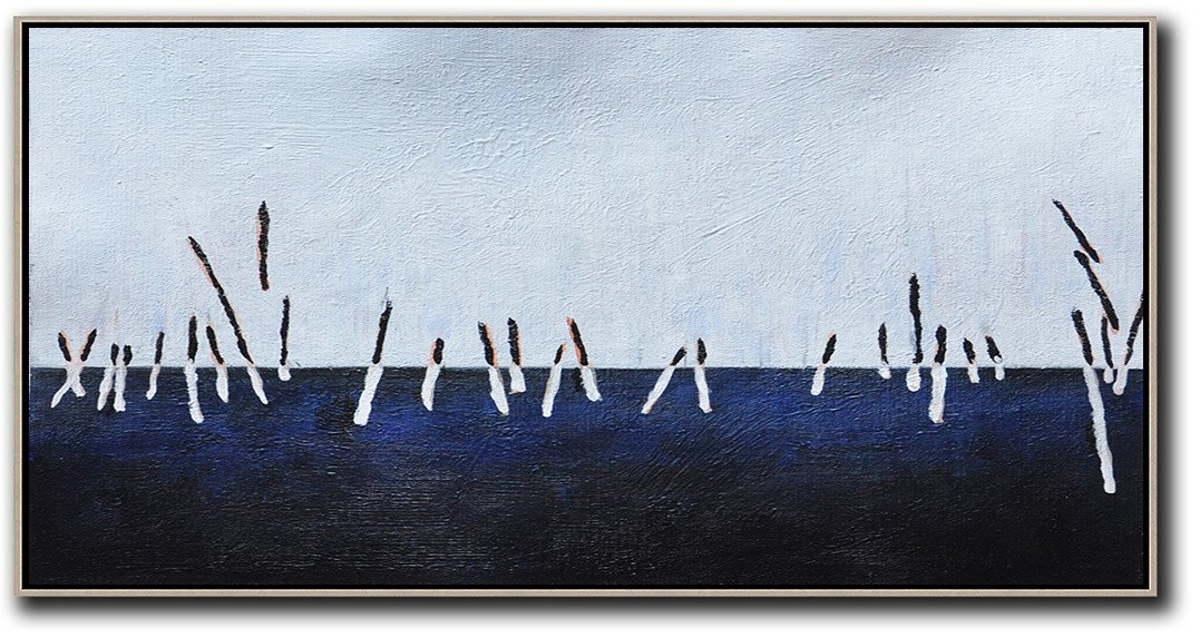 Large Contemporary Art Acrylic Painting,Hand Painted Panoramic Abstract Painting,Large Contemporary Painting,White,Grey,Dark Blue,Black.etc