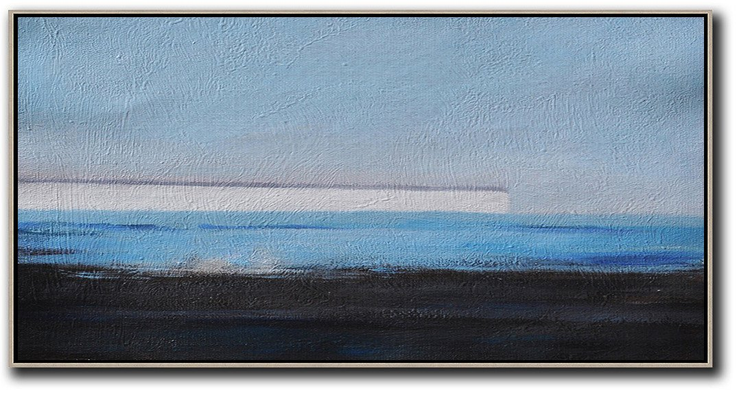 Extra Large Textured Painting On Canvas,Hand Painted Panoramic Abstract Painting,Large Living Room Wall Decor,Sky Blue,White,Blue,Black.etc
