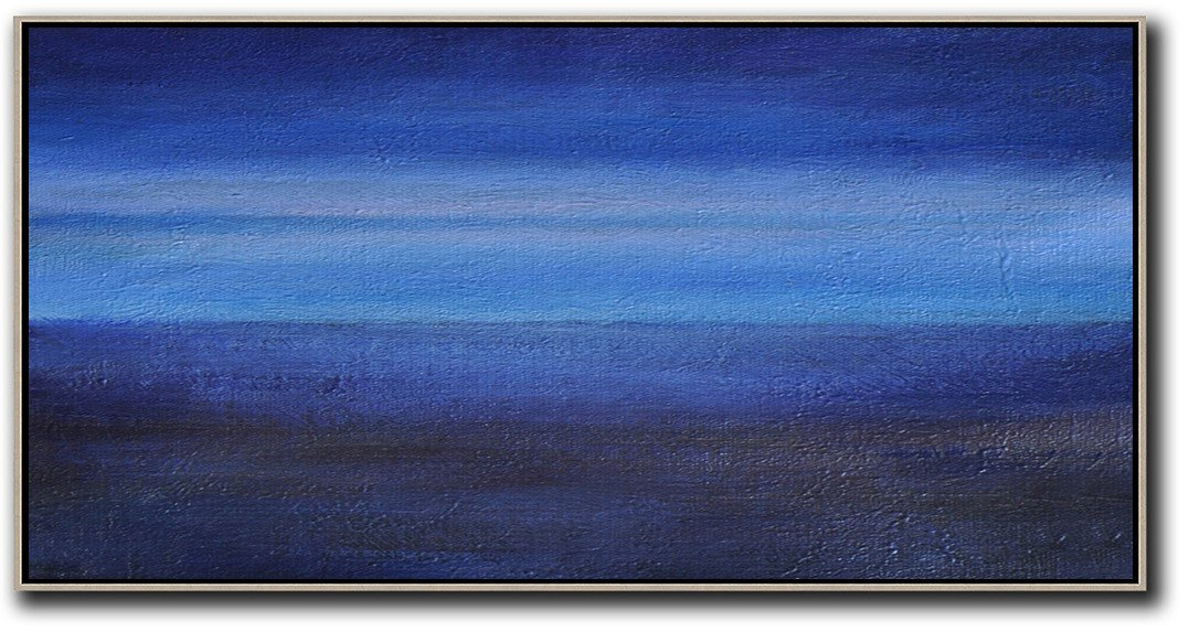 Oversized Canvas Art On Canvas,Hand Painted Panoramic Abstract Painting,Wall Art Painting,Dark Blue,Light Blue,Black.etc