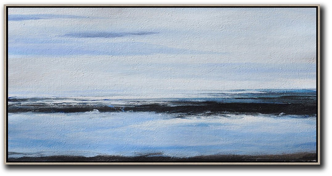 Hand Painted Extra Large Abstract Painting,Panoramic Abstract Landscape Painting On Canvas,Acrylic Painting On Canvas,Grey,Blue,Black.etc