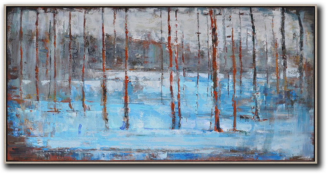 Extra Large Abstract Painting On Canvas,Panoramic Abstract Landscape Painting,Hand Painted Original Art,Grey,Light Blue,Red.etc