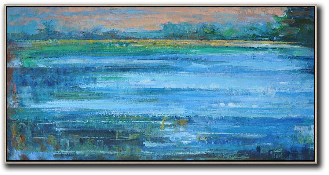 "Extra Large 72"" Acrylic Painting,Panoramic Abstract Landscape Painting,Canvas Artwork For Sale,Blue,Nude,Dark Green.etc"