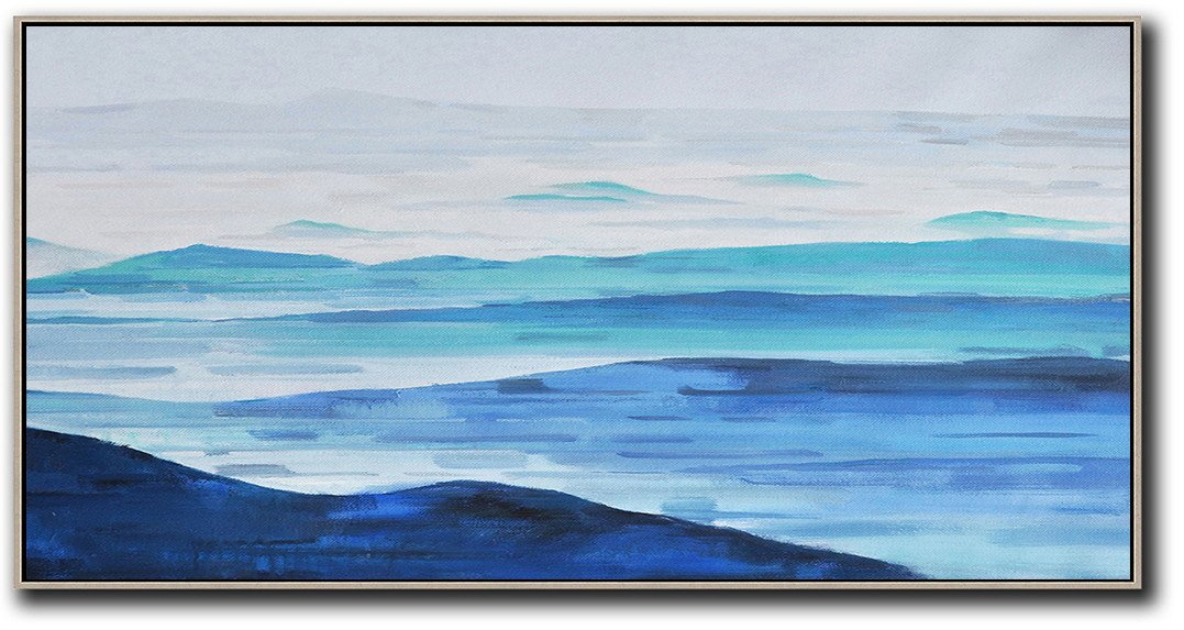 Extra Large Acrylic Painting On Canvas,Panoramic Abstract Landscape Painting,Giant Canvas Wall Art,Grey,White,Blue.etc