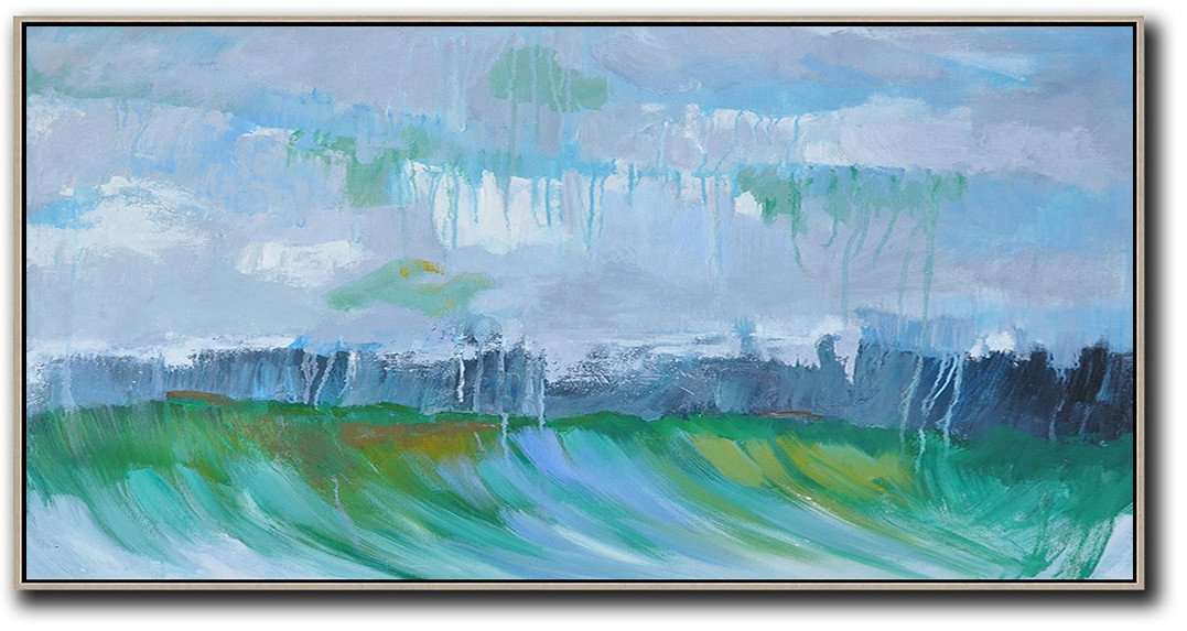 Original Abstract Painting Extra Large Canvas Art,Panoramic Abstract Landscape Painting,Living Room Canvas Art,Grey,Dark Blue,Green.etc