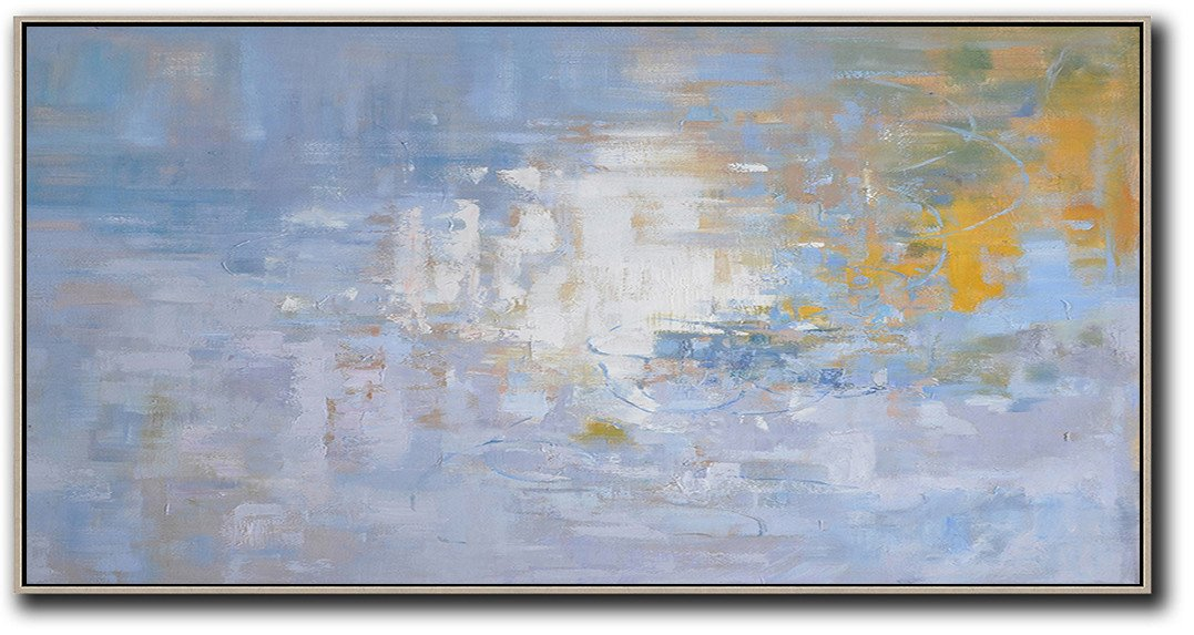 Large Abstract Painting,Panoramic Abstract Landscape Painting,Colorful Wall Art,Light Blue,Yellow,White.etc