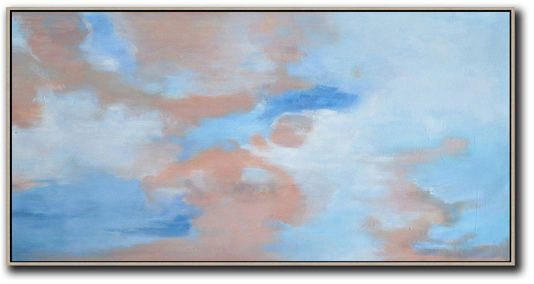Oversized Canvas Art On Canvas,Panoramic Abstract Landscape Painting,Abstract Painting On Canvas,Nude,Blue,White.etc