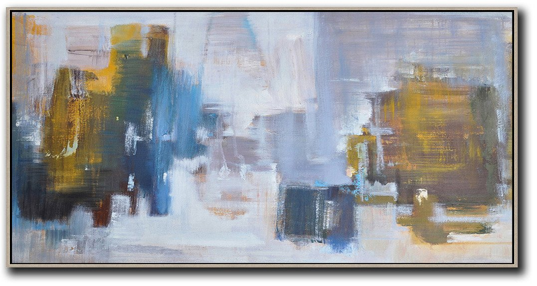 Large Abstract Painting,Panoramic Abstract Landscape Painting,Textured Painting Canvas Art,Yellow,Blue,White,Grey.etc