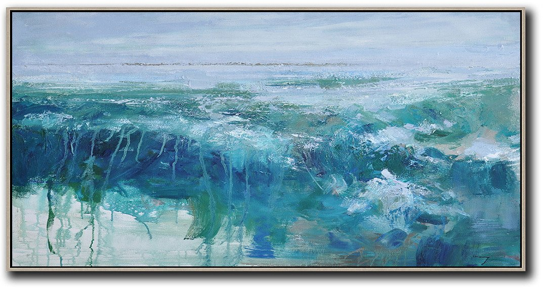 Large Abstract Art,Panoramic Abstract Landscape Painting,Modern Wall Decor,Sky Blue,Green,Dark Blue.etc